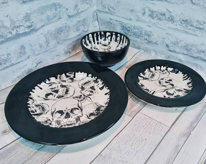 Skull dinner set, hand painted item, black skulls, ceramic plates, glazed bowl, set of 3, skull drip design