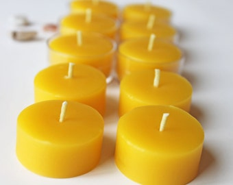 beeswax tea light refills, set of 12, unscented tea lights