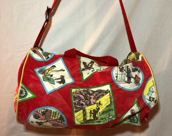 1997 Curious George Gym Duffle Bag with Long Straps and zipper Red Yellow