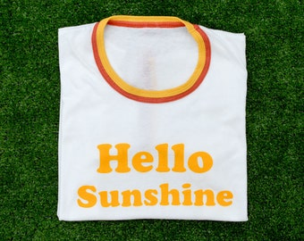 Double Ringer Retro Screen Print T-shirt / Hello Sunshine Tee