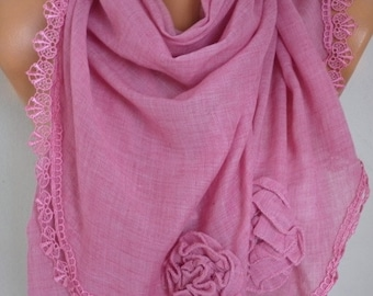 Pink Triangle Scarf, Shawl,Summer Scarf, Lace Oversized Bridesmaid Bridal Accessories, Gift Ideas For Her Women Fashion Accessories