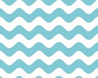 One Yard Wave - Waves in Aqua Blue - Cotton Quilt Fabric - RBD Designers for Riley Blake Designs - C415-20 (W3289)
