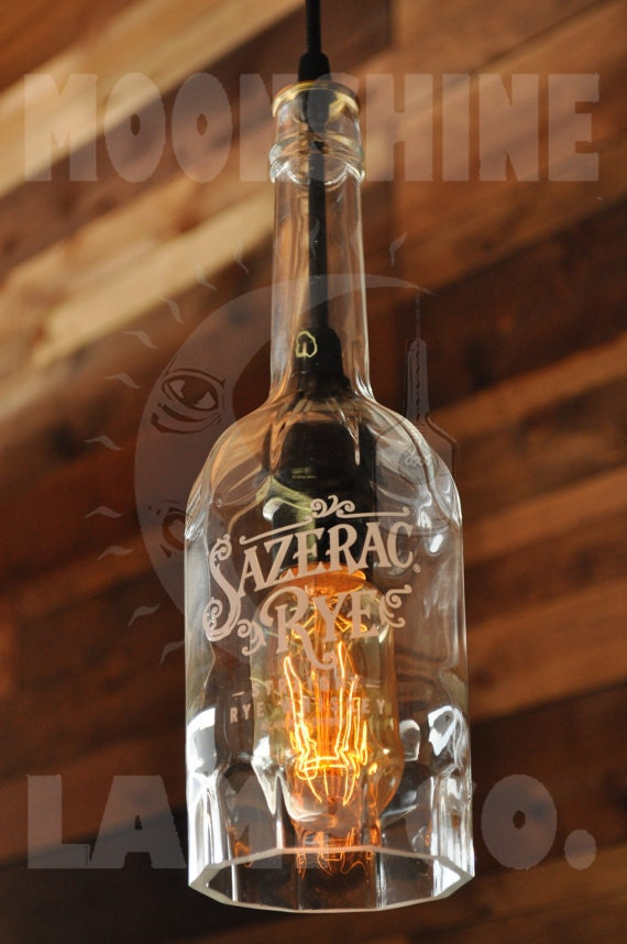Sazerac Rye Whiskey Recycled Hanging Pendant Bottle Lamp