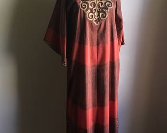60s Ethnic Bohemian Vintage Caftan • Long Kaftan