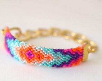 Chunky Chain Friendship Bracelet. Rainbow Sherbet.