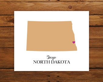North Dakota State Love Map Silhouette 8x10 Print - Customized