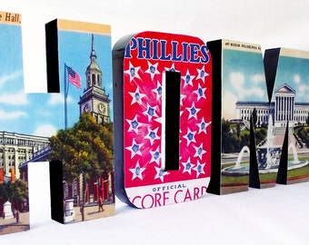 Wooden HOME Sign Vintage Philadelphia Personalized Decor Custom Wall Art