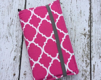 iPhone wallet case -Hot pink quatrefoil wallet with removable gel case