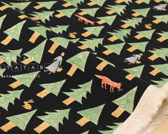 Japanese Fabric Kokka nishi shuku - forest - black, green - 50cm