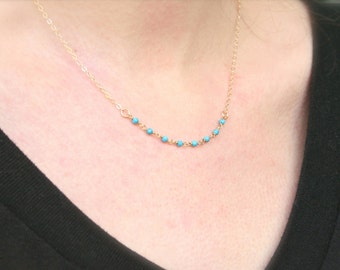 Dainty Turquoise Beaded Necklace - 14K Gold filled everyday dainty delicate jewelry