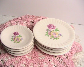 Porcelain Dishes, Small Plates and Saucers, Floral Rose Mini Plates and Saucers