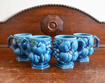 Inarco Blue Mood Indigo Mugs Set of 4 Made in Japan, Giftware logo Mid Century Kitchen Kitsch