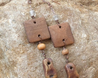Earrings made from clay and square wood piece with clear beads and swarovski crystals.