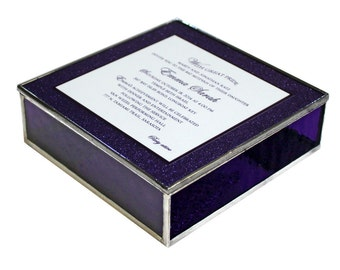 Stained Glass Keepsake Bat Mitzvah Invitation Gift Box in Purple