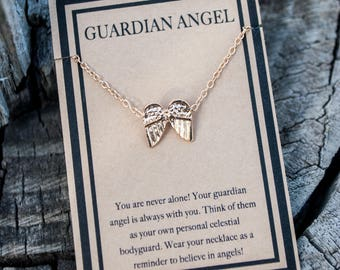 Angel Wings Necklace - Guardian Angel Necklace - Gold Necklace with Guardian Angel Wings