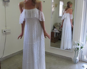 70s Wedding Dress Hippie Wedding Dress Bohemian Wedding Dress Lace Wedding Gown Boho Wedding Dress Paulastudio Wedding Dress Simple Wedding