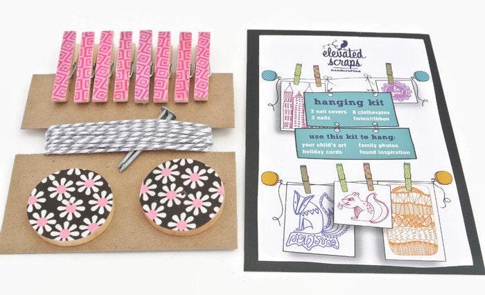 Art Hanging Kit ~ Art Display Kit ~ Mini Clothespins ~ Ribbon ~ Black and Pink Floral