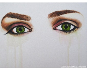 Seeing Into The Soul - Serious - Eye Art  - ART PRINT - 8 x 10 - By Mixed Media Artist Malinda Prudhomme