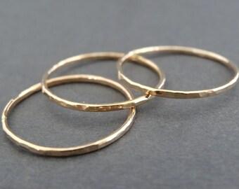 Thin Gold Rings hammered stacking rings 14 k Gold Filled Rings skinny hammered minimal stacking rings thumb rings