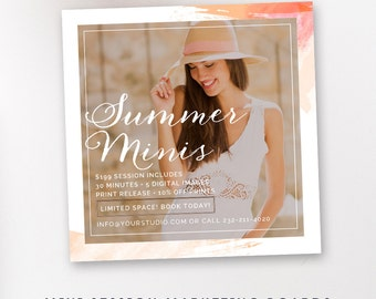 INSTANT DOWNLOAD Modern Mini, Summer Mini Session Template, Photographer Templates, Mini Session Marketing Board