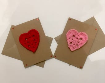 Handmade Love Heart Greetings Card with Removable Crocheted Patch / Appliqué