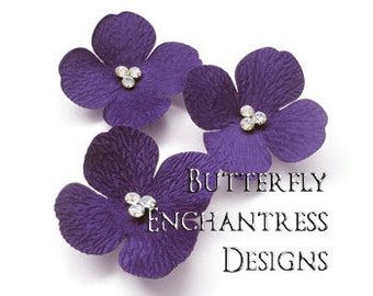 Purple Wedding, Bridal Hair Accessories, Bridesmaid Gift, Headpiece, Hair Piece - 3 Purple Sedona Hydrangea Flower Hair Combs