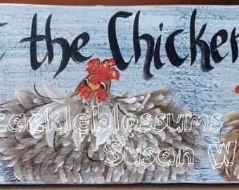 "5.5"" X 21""  #205 Chicken Art Sign Folk Art Chickens Original Painting"