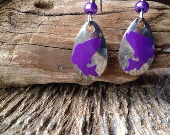 Largemouth bass earrings: largemouth bass on lure blades earrings purple largemouth bass earrings bass fishing earrings fishing earrings