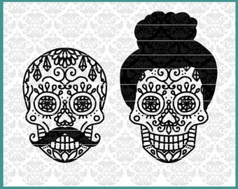 CLN0655 Halloween His & Hers Sugar Skull Dia De Los Muertos SVG DXF Ai Eps PNG Vector Instant Download Commercial Cut File Cricut Silhouette