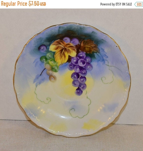 Delayed Shipping Lefton Festival Saucer Vintage Japan Shabby Chic Hand Painted Saucer Grapes Scalloped Gold Trim Afternoon Tea Party Dish Gi