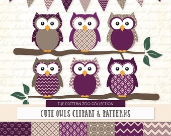 Patterned Plum Owls Clipart and Digital Papers - Plum Owl Clipart, Owl Vectors, Baby Owls, Cute Owls
