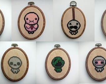"Binding of Isaac Seven Deadly Sins Cross Stitch in 3.5"" Oval Hoop"
