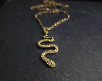 Snake Necklace,Gold Snake Necklace,Pave Pendant,Cleopatra,Pave Snake,Gold vermeil Snake,Swarovski Necklace,Snake Pendant,Matte Gold,Egyptian