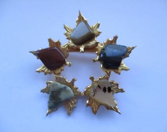Gold Plated Maple Leaf Brooch with Natural Polished Agates, Canadian Agate Brooch, Polished Agates