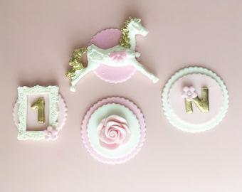 Pastel Carousel Fondant Cupcake Topper - Carousel Birthday Theme Cupcakes -Merry-Go-Round Pastel Pink  Lavender & Gold Carousel  (Set of 12)