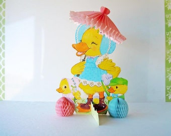 Large Vintage Easter Decorations Baby Chicks Table Decor 14 inch Eureka Honeycomb Centerpiece