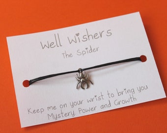 Spider Charm Bracelet - Mystery, Power and Growth   Well Wisher, wish bracelet, spider jewellery, inspirational, friendship, gift card, goth