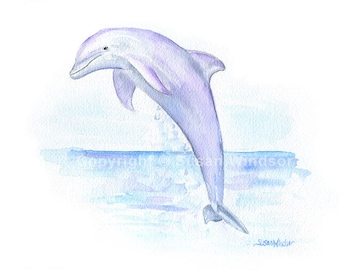 Dolphin Watercolor Painting - 14x11 - Giclee Print Reproduction - Ocean Animal Sea Creature Wall Art