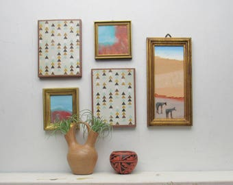 wall gallery - Land of Enchantment - 5 pc  wall art collage - desert art - Arizona desert-horse lovers