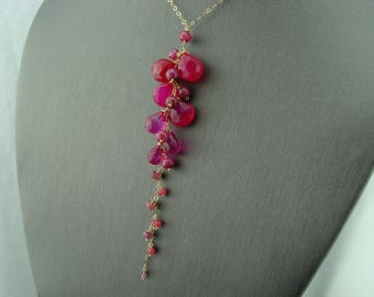 Hot Pink Chalcedony Ruby Tourmaline and Pink Quartz 14K Gold Filled Cascade Necklace