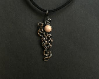 Rhodonite Copper Wrapped Pendant Necklace