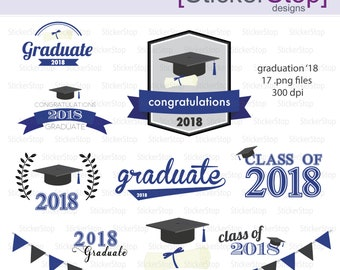 Navy and Black Graduation 2018 Party Invitations Digital Clipart - Instant download PNG files
