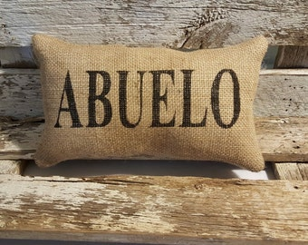 """Burlap Abuelo 11"""" x 6"""" Stuffed Pillow Father's Day Or Burlap Birthday Gift"""