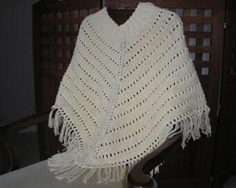 Knitted Ladies Poncho - Ecru 100% Cotton