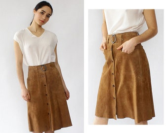 Brown Suede Snap Skirt XS • 60s Suede Skirt • Vintage Suede Skirt • Button Front Skirt • Vintage 60s Skirt • Suede A-Line Skirt • SK1184