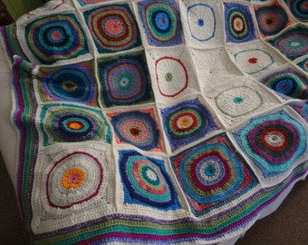Crosswork crocheted throw winter white with colors