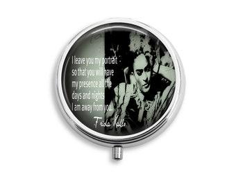 Pill Box Case Frida Kahlo Silver Stash