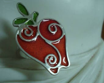 The apple of discord: sterling silver and enamel apple ring