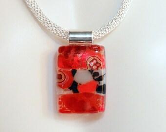SALE Fused Glass Pendant RED and BLACK...Murrini