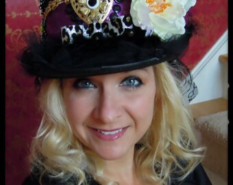 WONDERLAND, Custom Made Embellished Flowered, Brooched, TOPHAT, Costume, Dance,Theatre, Bachelorette, Stevie Nicks, holidays,gypsy bohemian